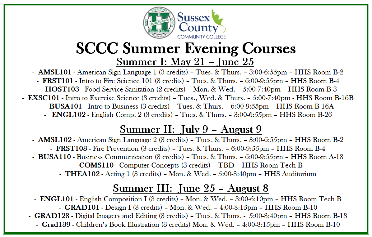 Sussex County Community College Courses Summer 2018